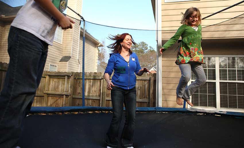 trampoline fun with childer